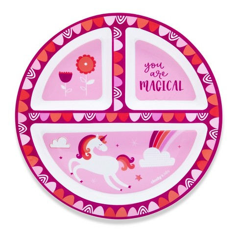 """Cheeky™ Plastic Divided Kids Plate 8.3"""" Unicorn - Pink - image 1 of 1"""