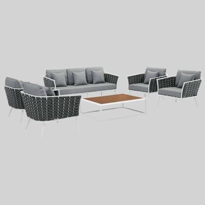 Stance 6pc Outdoor Patio Aluminum Sectional Sofa Set - Modway