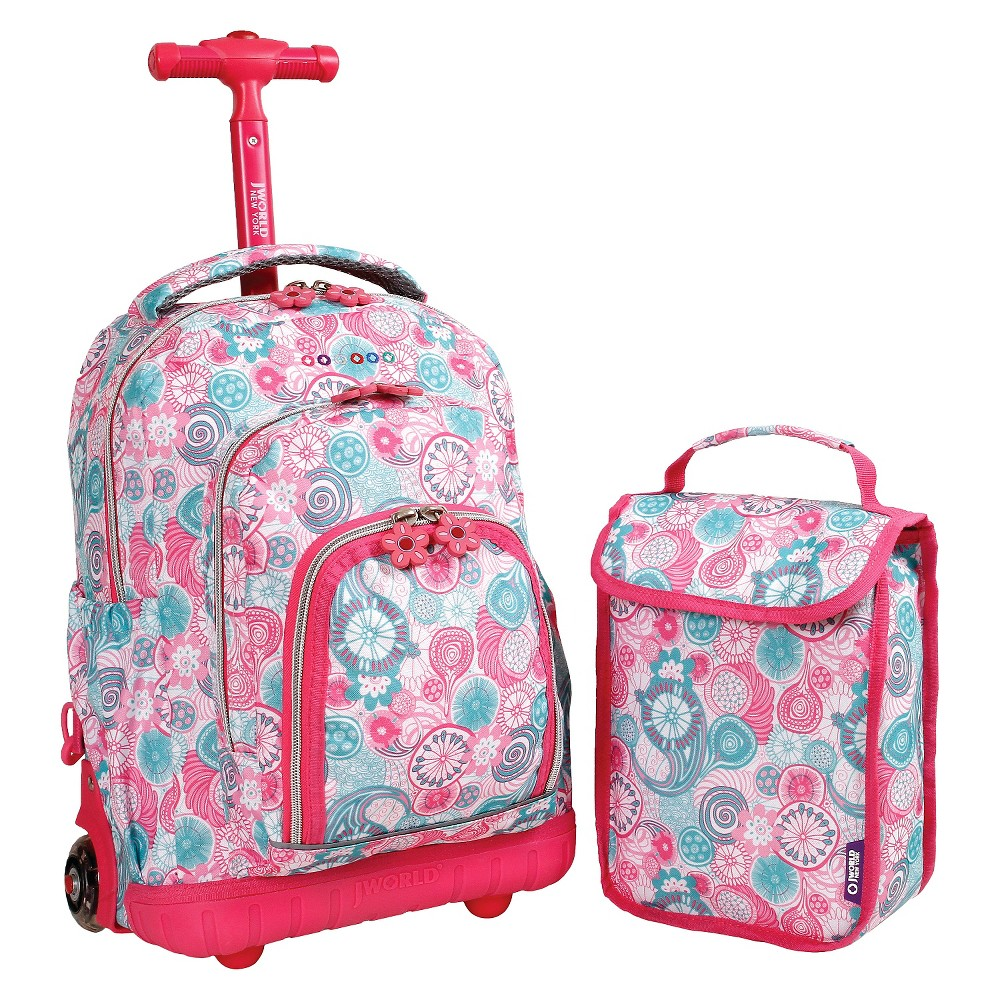 "Image of ""J World 16"""" Lollipop Rolling Backpack with Lunch Kit - Pink/Blue, Kids Unisex, Pink/Blue/Yellow"""