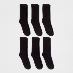 Women's 6pk Crew Socks - A New Day™ Black One Size