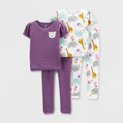 Baby Girls' 4pc Cat Safari Snug Fit Pajama Set - Just One You® made by carter's White/Purple
