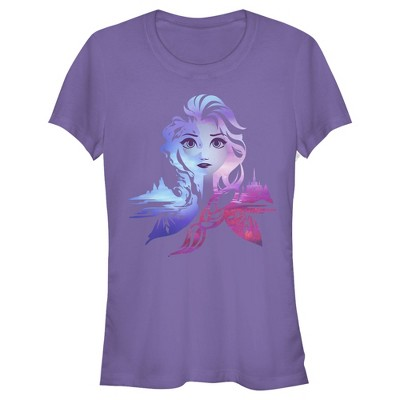 Junior's Frozen 2 Elsa Two Tone Gradient Portrait T-Shirt