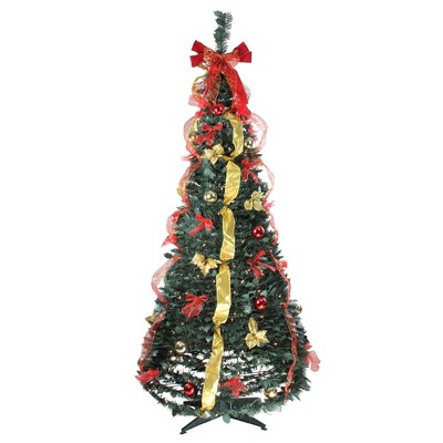 Northlight 6' Prelit Artificial Christmas Tree Red and Gold Decorated Pop Up - Clear Lights