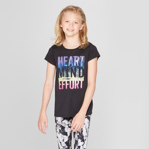 6891ee0d Girls' Mind Heart Effort Graphic Tech T-Shirt - C9 Champion® Black XS :  Target