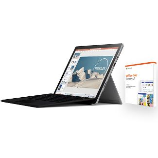 """Microsoft Surface Pro 7 3-Piece Bundle 12.3"""" Core i5 8GB 128GB SSD Platinum w/ Black Type Cover + Office 365 Personal 1 Year"""