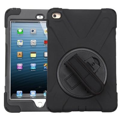 MYBAT For Apple iPad Mini 4 Black Wristband Hard Rubberized Case Cover w/stand