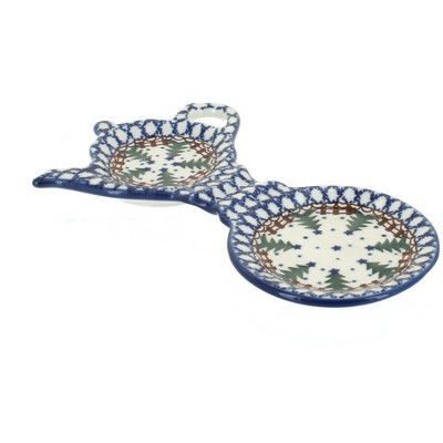 Blue Rose Polish Pottery Rustic Pines Tea Bag Holder & Saucer