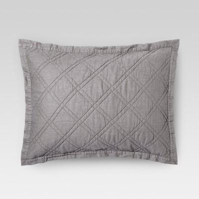 Gray Linen Blend Quilted Sham (Standard)- Threshold™