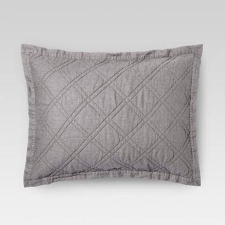 Gray Linen Blend Quilted Sham (Standard) - Threshold™