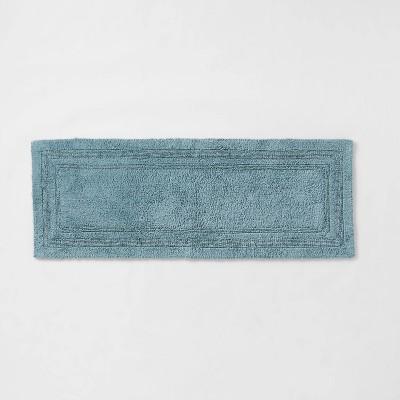 "22""x60"" Performance Cotton Reversible Bath Runner Blue - Threshold™"