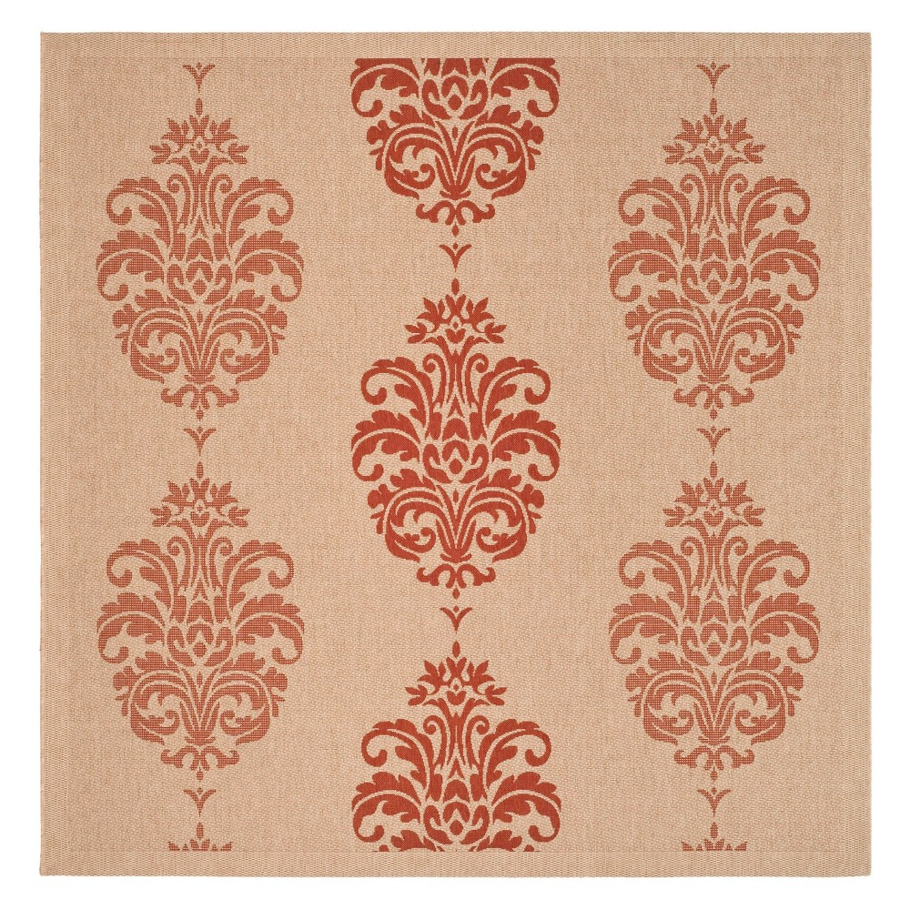 Check price 710X710 Square Orly Outer Patio Rug Natural Red - Safavieh