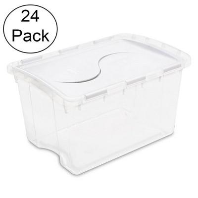 Sterilite 1914 Single 48 Quart Clear Base Hinged Lid Storage Box Tote (24 Pack)
