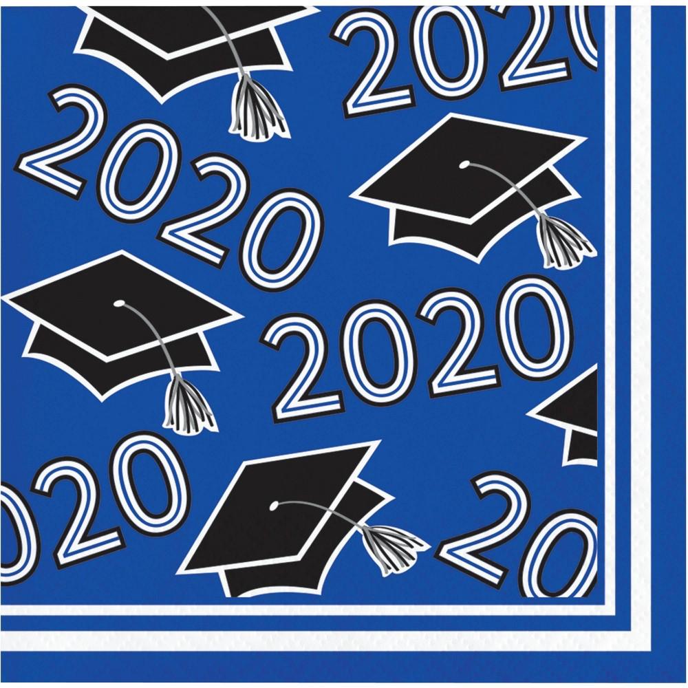 Image of 108ct Class Of 2020 Grad Beverage Napkins Cobalt Blue