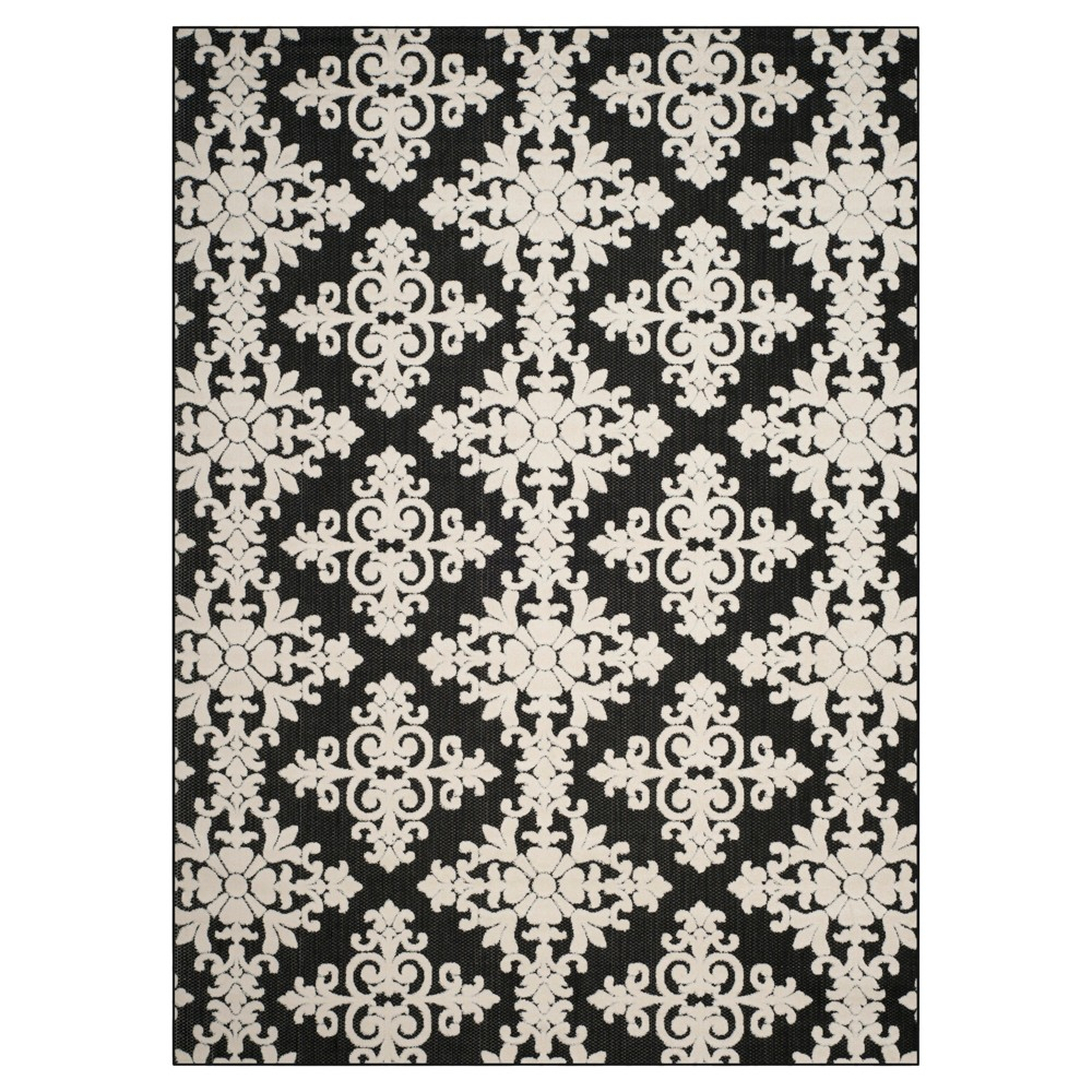 Hawley 8'x11'2 Indoor/Outdoor Rug - Brown/Creme - Safavieh, Black/Creme