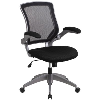 Mid Back Swivel Ergonomic Task Office Chair with Gray Frame and Flip Up Arms Black - Riverstone Furniture