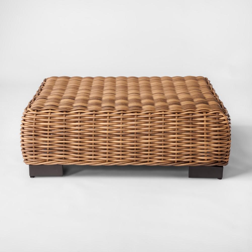 Eldridge Wicker Square Patio Coffee Table - Brown - Smith & Hawken