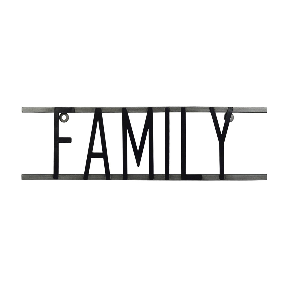 Image of Family Decorative Metal Wall Sign Black - Prinz