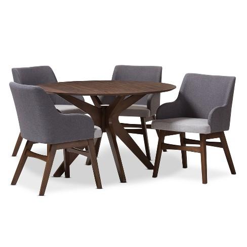Monte Mid Century Modern Wood Finish Round 5 Piece Dining Set Gray Walnut Brown Baxton Studio
