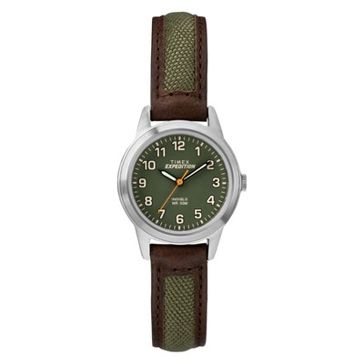 Women's Timex Indiglo Expedition Field Watch with Nylon/Leather Strap - Brown TW4B12000JT