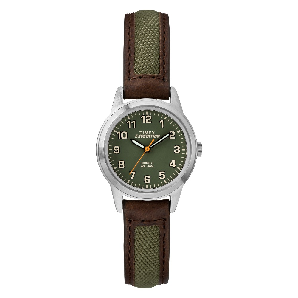 Women's Timex Indiglo Expedition Field Watch with Nylon/Leather Strap - Brown TW4B12000JT -  ADULT