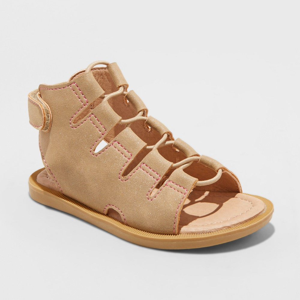 Image of Toddler Girls' Just Buds Ghillie Gladiator Sandals - Desert Tan 10, Girl's