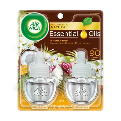 Air Wick Life Scents Scented Oil Plug in Air Freshener Refills, Paradise Retreat with Coconut, Almond Blossom & Cherry Scent, 2 ct