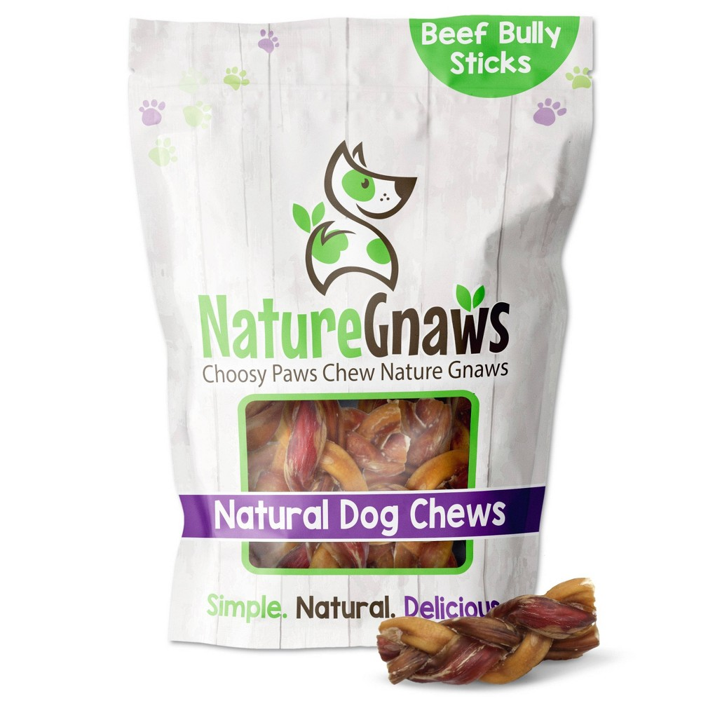 Nature Gnaws Braided Bully Bites 2 3 Dog Chew Treats 15ct