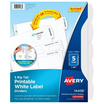 Avery 5ct Printable White Label Big Tab Divider Set