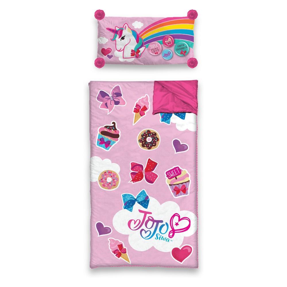 JoJo Siwa Slumber Side Zip Sleeping Bag & Pillow Set, Pink