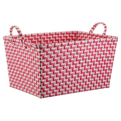 Rectangle Weave Decorative Basket (Medium)Pink & White - Pillowfort™
