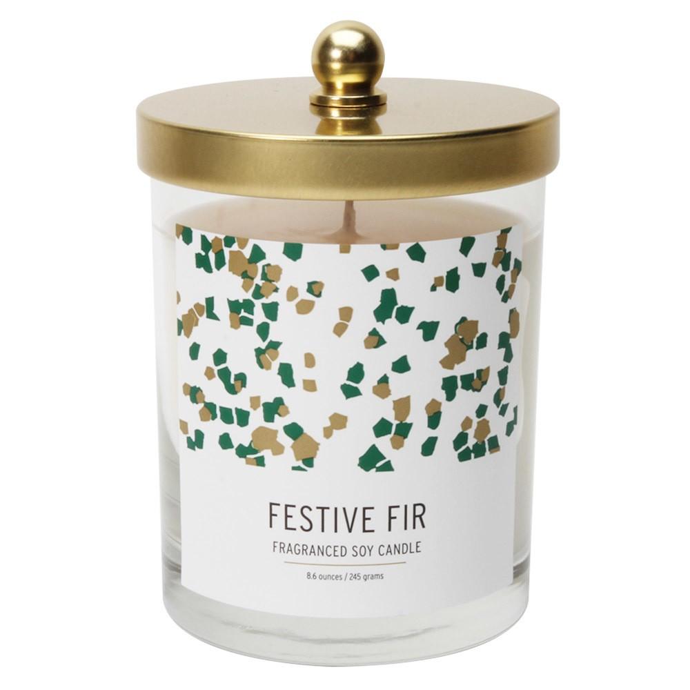 8.6oz Lidded Jar Candle Festive Fir - Soho Brights, Green