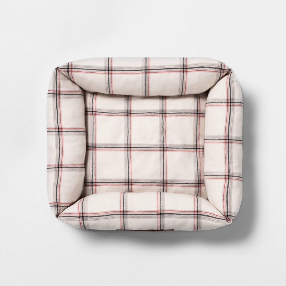 Image of Small Pet Bed Plaid - Hearth & Hand with Magnolia, Beige