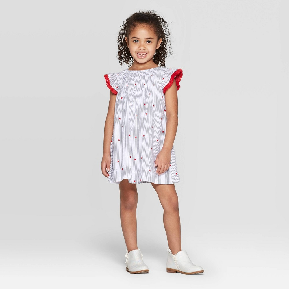 Toddler Girls' 4th of July Striped A Line Dress - Cat & Jack Off-White 3T, Blue