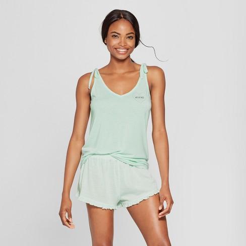 99a5318e97 Women s Tank Top and Ruffle Shorts Pajama Set - Xhilaration™ Mint L ...