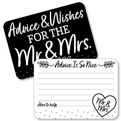 Big Dot of Happiness Mr. and Mrs. - Wish Card Black and White Wedding or Bridal Shower Activities - Shaped Advice Cards Game - Set of 20
