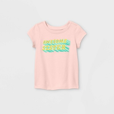 Toddler Girls' 'Awesome Sister' Short Sleeve T-Shirt - Cat & Jack™ Light Pink 3T