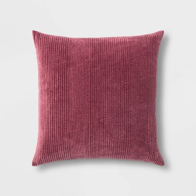 Quilted Washed Velvet Oversize Square Pillow Berry Red - Threshold™