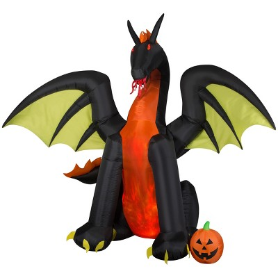 Gemmy Animated Projection Airblown Fire & Ice Dragon w/Wings Giant (RRPm), 9 ft Tall, Multicolored