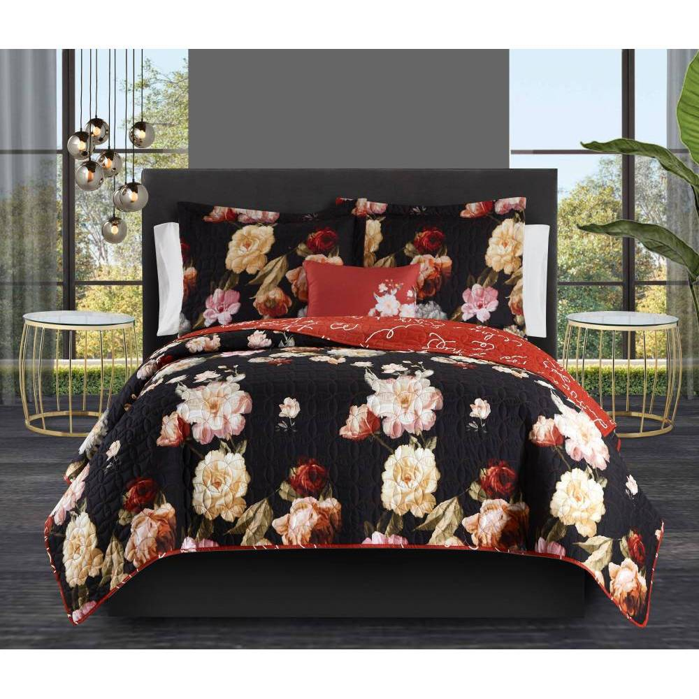 Twin Xl 6pc Edwina Bed In A Bag Quilt Set Black Chic Home Design