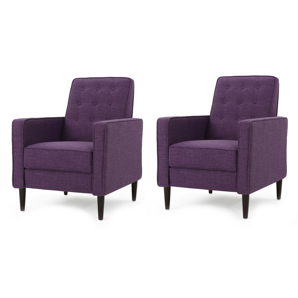 Mervynn Mid-Century Recliner- Muted Purple (Set of 2) - Christopher Knight Home