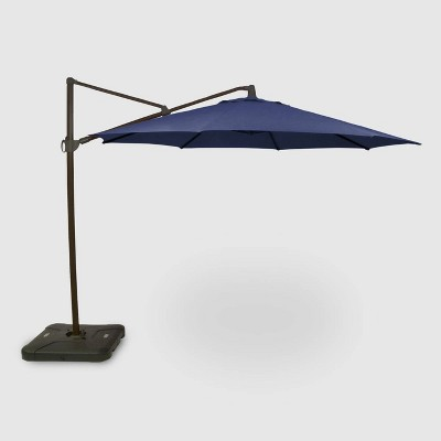 11' Offset Patio Umbrella Navy - Black Pole - Threshold™