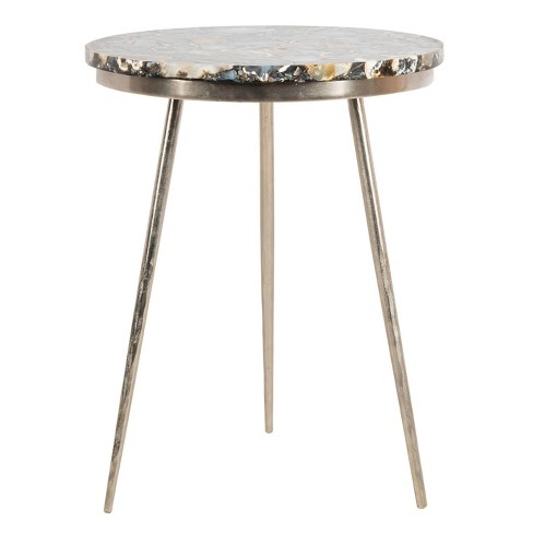 Faryn Agate Round Accent Table Nickel/Black - Safavieh - image 1 of 4
