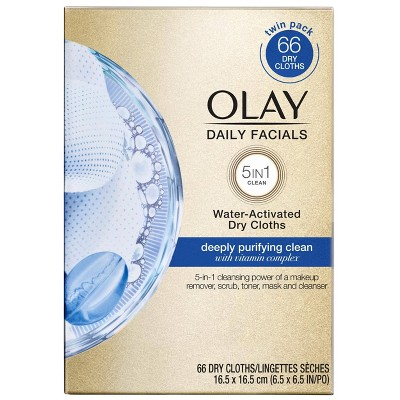 Olay Daily Facials Water-Activated Dry Cloths - 66ct