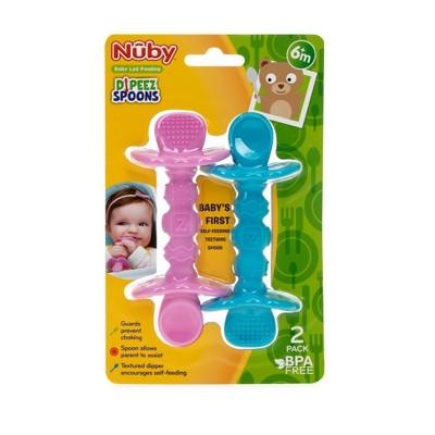 Nuby 2pk Dipeez Spoon - Pink/Aqua