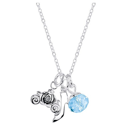 "Women's Disney Silver Plated Cinderella Slipper Carriage Necklace - Silver (18"") - image 1 of 2"