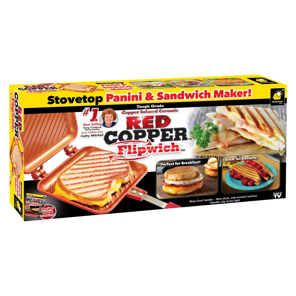 As Seen on TV Copper Flipwich Stovetop Panini & Sandwich Maker - Red Tired of the same, boring, cold sandwiches? It's the same thing everytime! You need Red Copper Flipwich, the sandwich maker that lets you flip hot sandwiches in minutes! Cook sandwiches, grilled cheese, paninis, burgers, indoor s'mores, AND much more with the Red Copper Flipwich! The secret lies in the twin, interlocking grill chambers that creates a sealed environment. All you have to do is close the lid, lock the handle, and flip! Flipwich is lightweight AND made out of our amazing non-stick ceramic surface! Cleanup is especially easy because food won't stick and it's also dishwasher safe. Plus Flipwich works on any stovetop...Gas, Glass, Electric, even Induction!