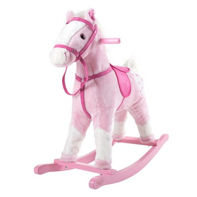 Toy Time Rocking Horse Plush Animal Ride-On Toy With Sounds - Pink