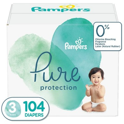 Pampers Pure Protection Disposable Diapers Enormous Pack - Size 3 (104ct)