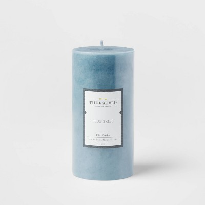 Mottled Pillar Candle Blue Skies - Threshold™