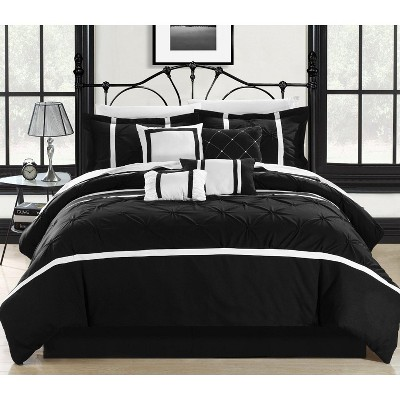 Chic Home Vermont Solid Pleating Oversized Soft Plush Microfiber Embroidered Black & White Comforter Bed In A Bag Set 8 Piece